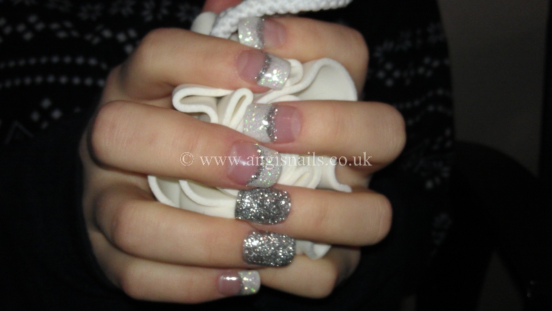 White And Silver Glitter Acrylic