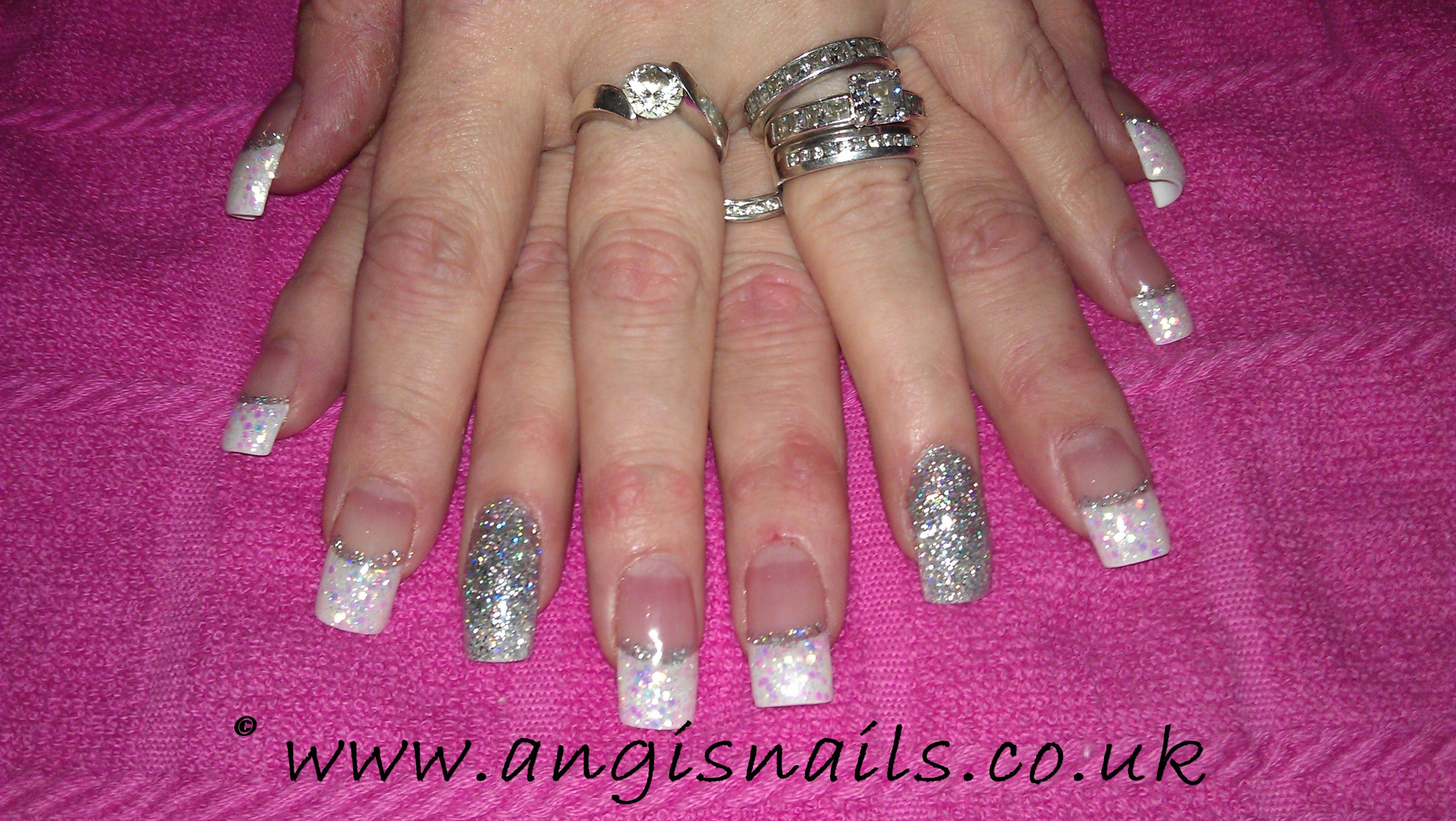 Silver White Acrylic Nails